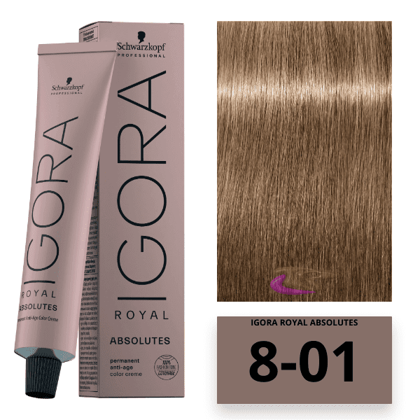 Schwarzkopf - Tinte Igora Royal Absolutes Age Blend 8/01 Rubio Claro Natural Ceniza 60 ml