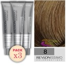 Revlon - Pack 3 Tintes REVLONISSIMO COLORSMETIQUE 8 Rubio Claro 60 ml