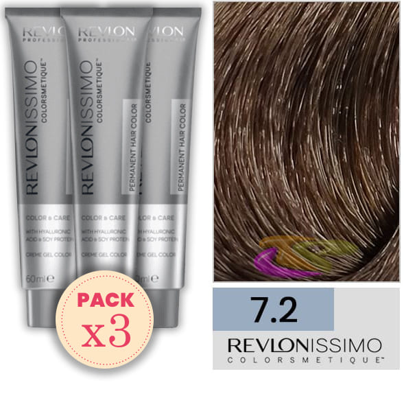 Revlon - Pack 3 Tintes REVLONISSIMO COLORSMETIQUE 7.2 Rubio Irisado 60 ml