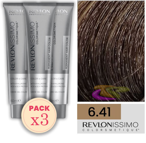 Revlon - Pack 3 Tintes REVLONISSIMO COLORSMETIQUE 6.41 Rubio Oscuro Marrón 60 ml