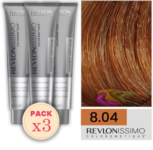 Revlon - Pack 3 Tintes REVLONISSIMO COLORSMETIQUE 8.04 Rubio Claro Cobrizo Natural 60 ml