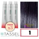 Tassel - Pack 3 Tintes BRIGHT COLOUR con Argán y Keratina Nº 1 NEGRO 100 ml