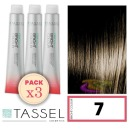 Tassel - Pack 3 Tintes BRIGHT COLOUR con Argán y Keratina Nº 7 RUBIO MEDIO 100 ml