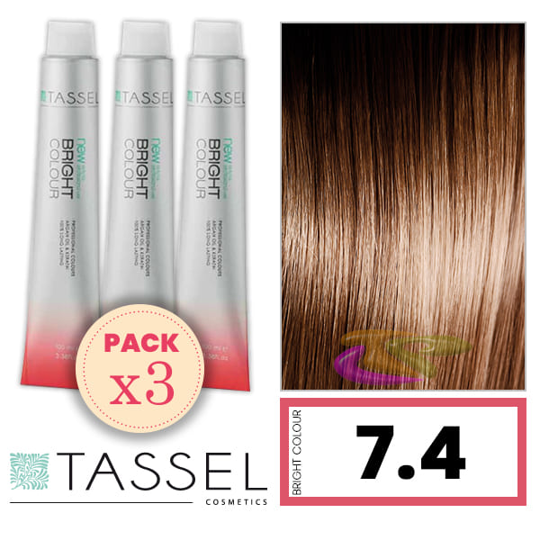 Tassel - Pack 3 Tintes BRIGHT COLOUR con Argán y Keratina Nº 7.4 RUBIO MEDIO COBRE 100 ml