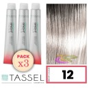 Tassel - Pack 3 Tintes BRIGHT COLOUR con Argán y Keratina Nº 12 SUPERACLARANTE RUBIO NATURAL 100 ml