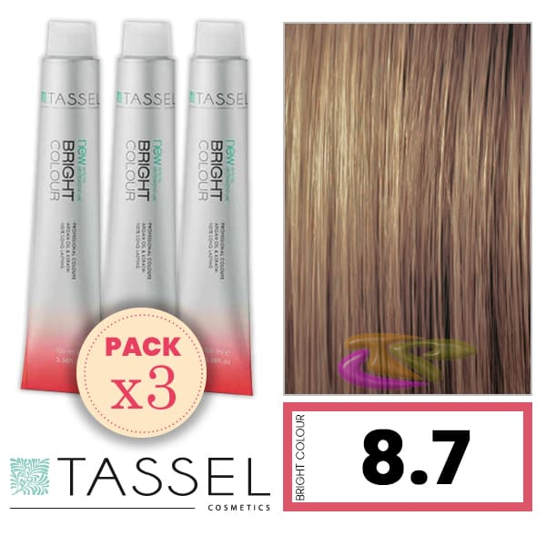 Tassel - Pack 3 Tintes BRIGHT COLOUR con Argán y Keratina Nº 8.7 RUBIO CLARO MARRÓN 100 ml