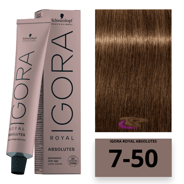 Schwarzkopf - Tinte Igora Royal Absolutes 7/50 Rubio Medio Dorado Natural 60 ml