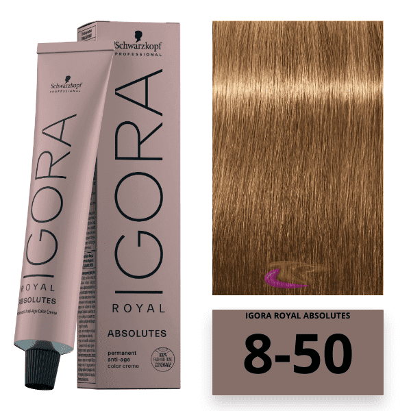 Schwarzkopf - Tinte Igora Royal Absolutes 8/50 Rubio Claro Dorado Natural 60 ml