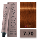 Schwarzkopf - Tinte Igora Royal Absolutes 7/70 Rubio Medio Cobrizo Natural 60 ml