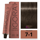 Schwarzkopf - Tinte COLOR Igora 10 Minutos 7-1 Rubio Medio Ceniza 60 ml